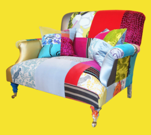 Classic Squint sofa upholstered in its signature multi-coloured patchwork