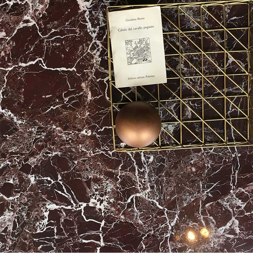 "Russet ""Rosso Lepanto"" marble: the new coloured marble to watch out for."