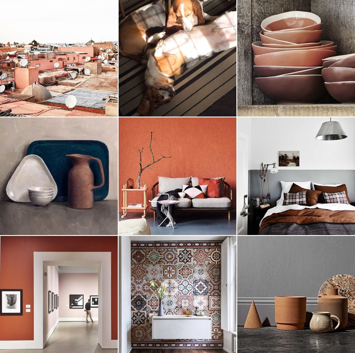 Terracotta colour moodboard via @michelleogundehin Instagram