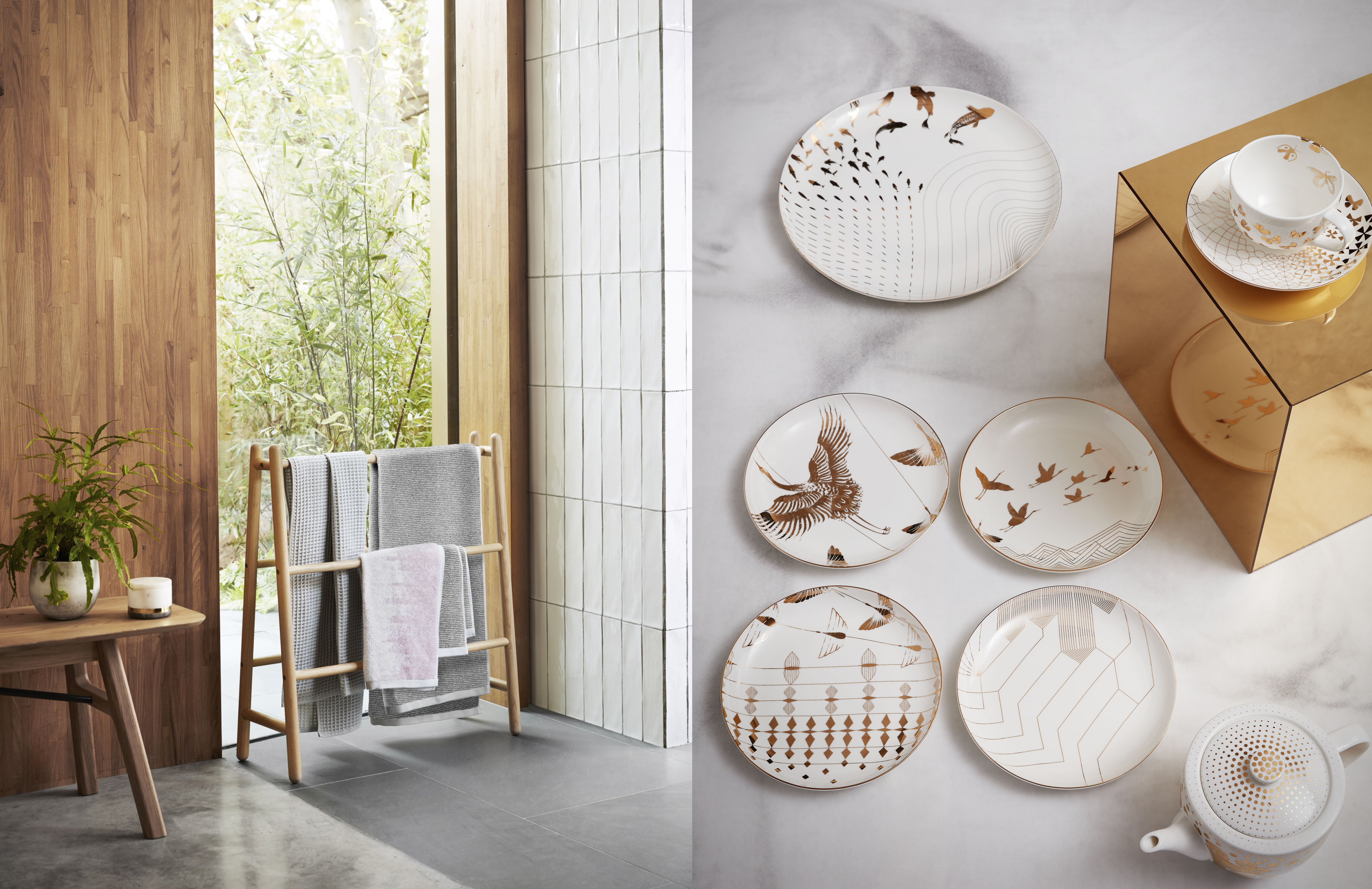 John Lewis x Japonisme. 'Yama' side plates, £65 for a set of 4; Bathroom Towel Horse, £90. John Lewis