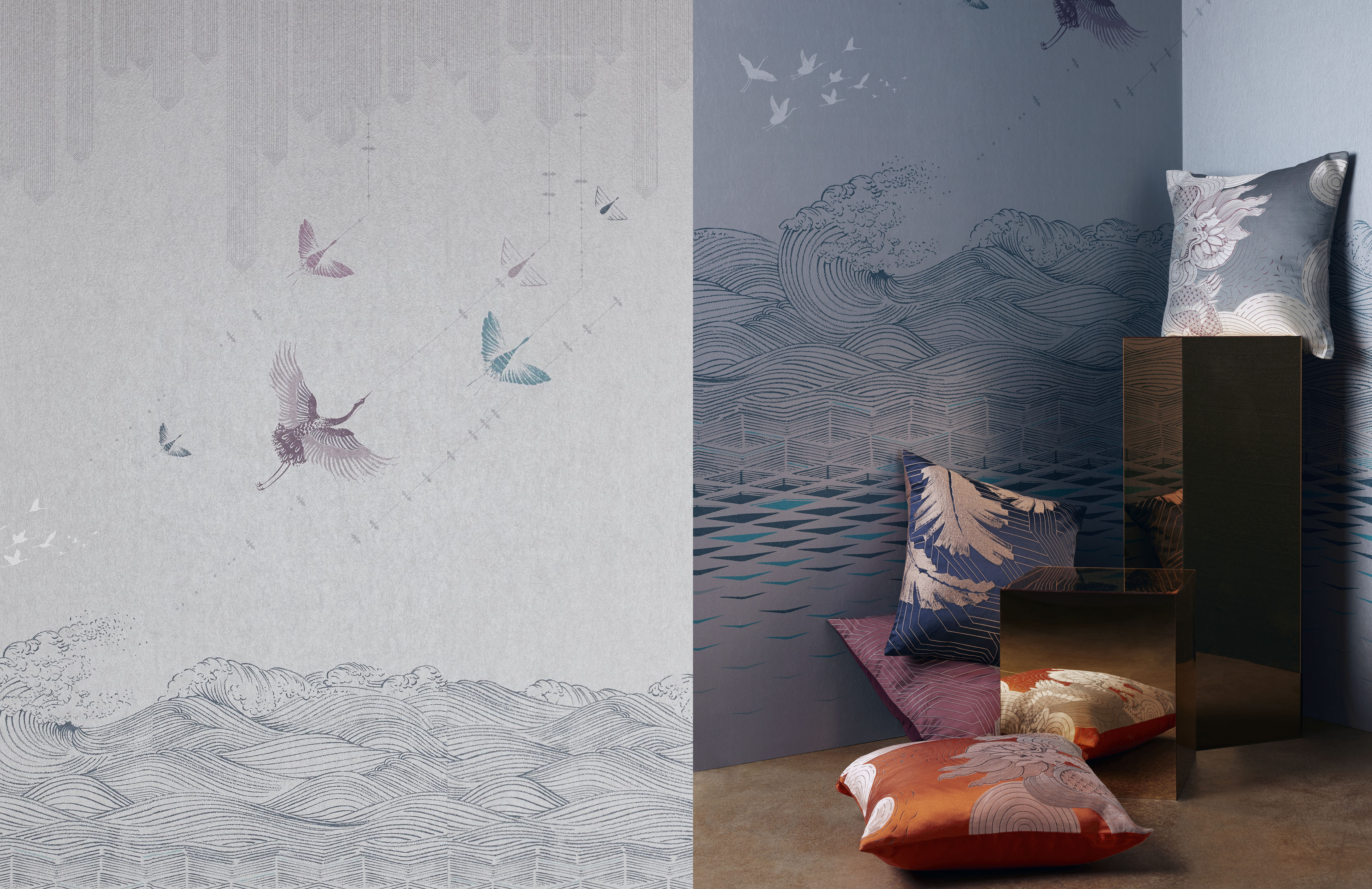 John Lewis x Japonisme: 'Kaiyo' wallpaper panels and 'Konoha' and 'Kumo' cushions. John Lewis