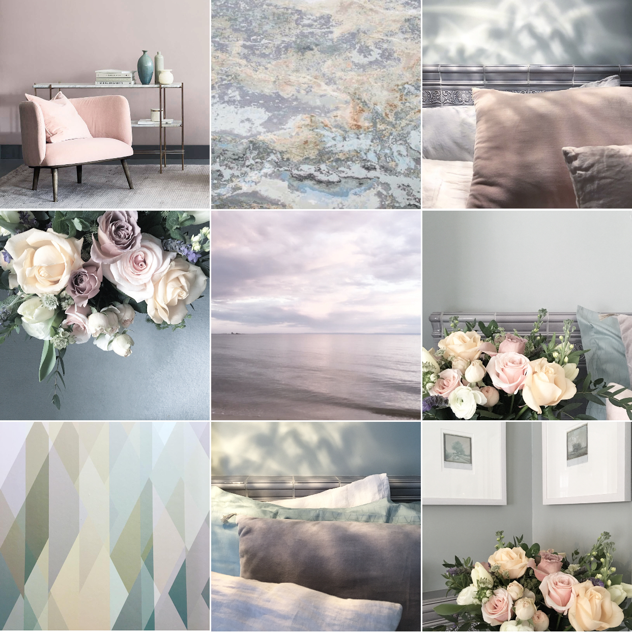The New Neutrals: Bye Bye beige'n'white, hello tearose, palest peach, mint and lavender hues. The New Neutrals Insta-colourscape. Follow feed for full captions and credits. All flowers by The Real Flower Company.