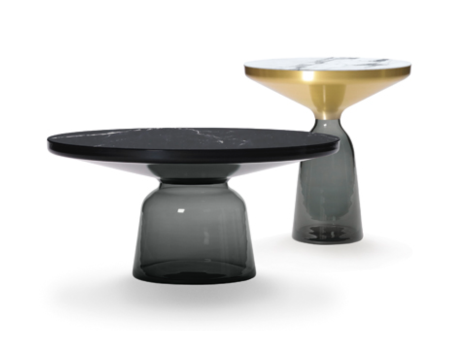Dream Buy: Sebastian Herkner's 'Bell' table with marble tops, also shows the Burnished Black steel top.
