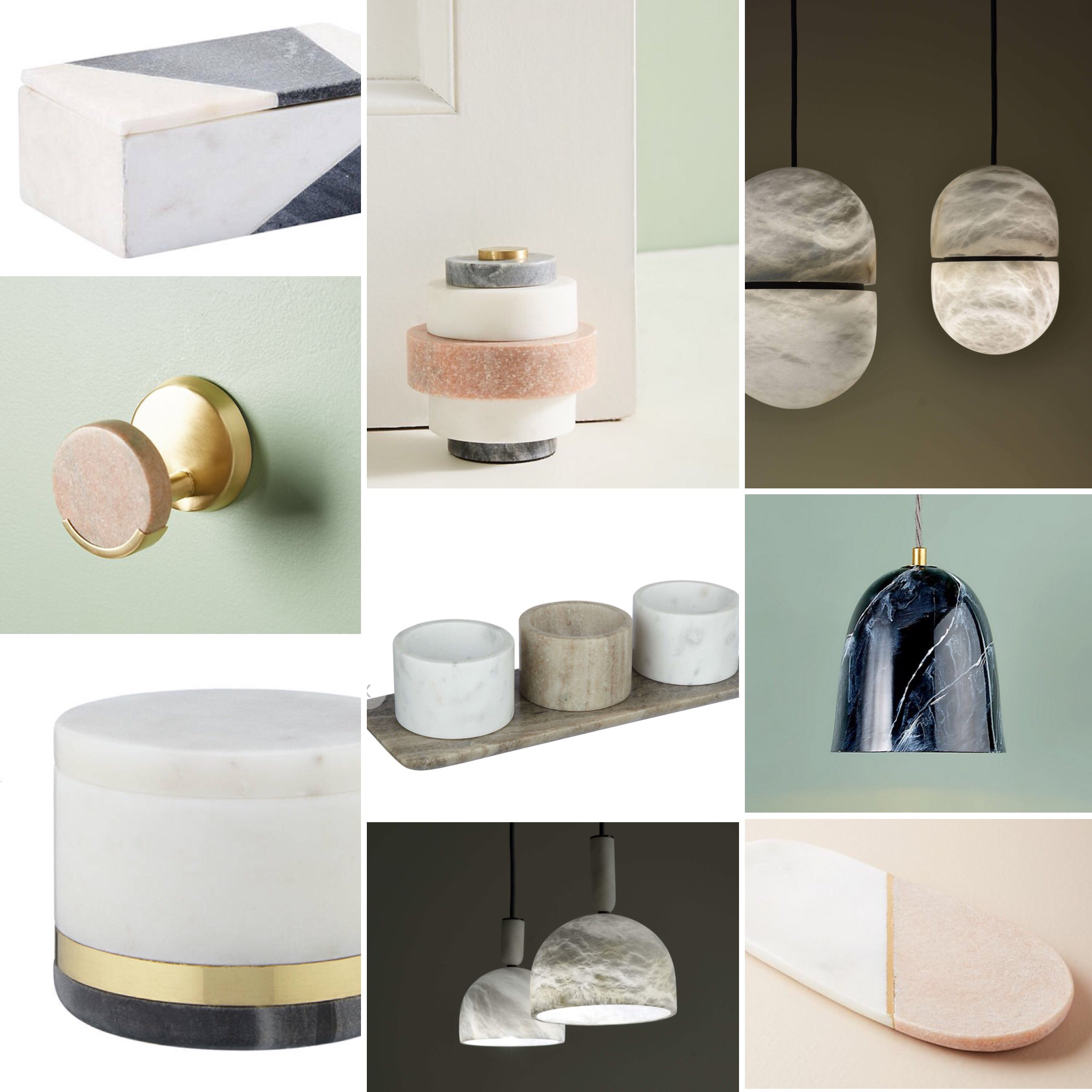 Everyday Luxe: sculptural lights made from alabaster and marble used for everything from pendants to doorstops. Products shown from Anthropologie, John Lewis and Atelier Alain Ellouz.