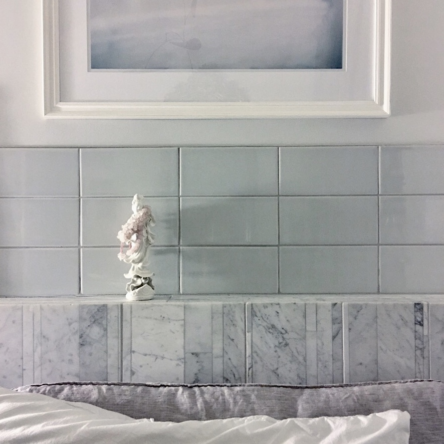 This is the bedhead in the guest bedroom in the MOhome. 'Prismatics' ceramic tiles by Johnsons. Stone by Salvatori marble. Picture via NewBloodArt.
