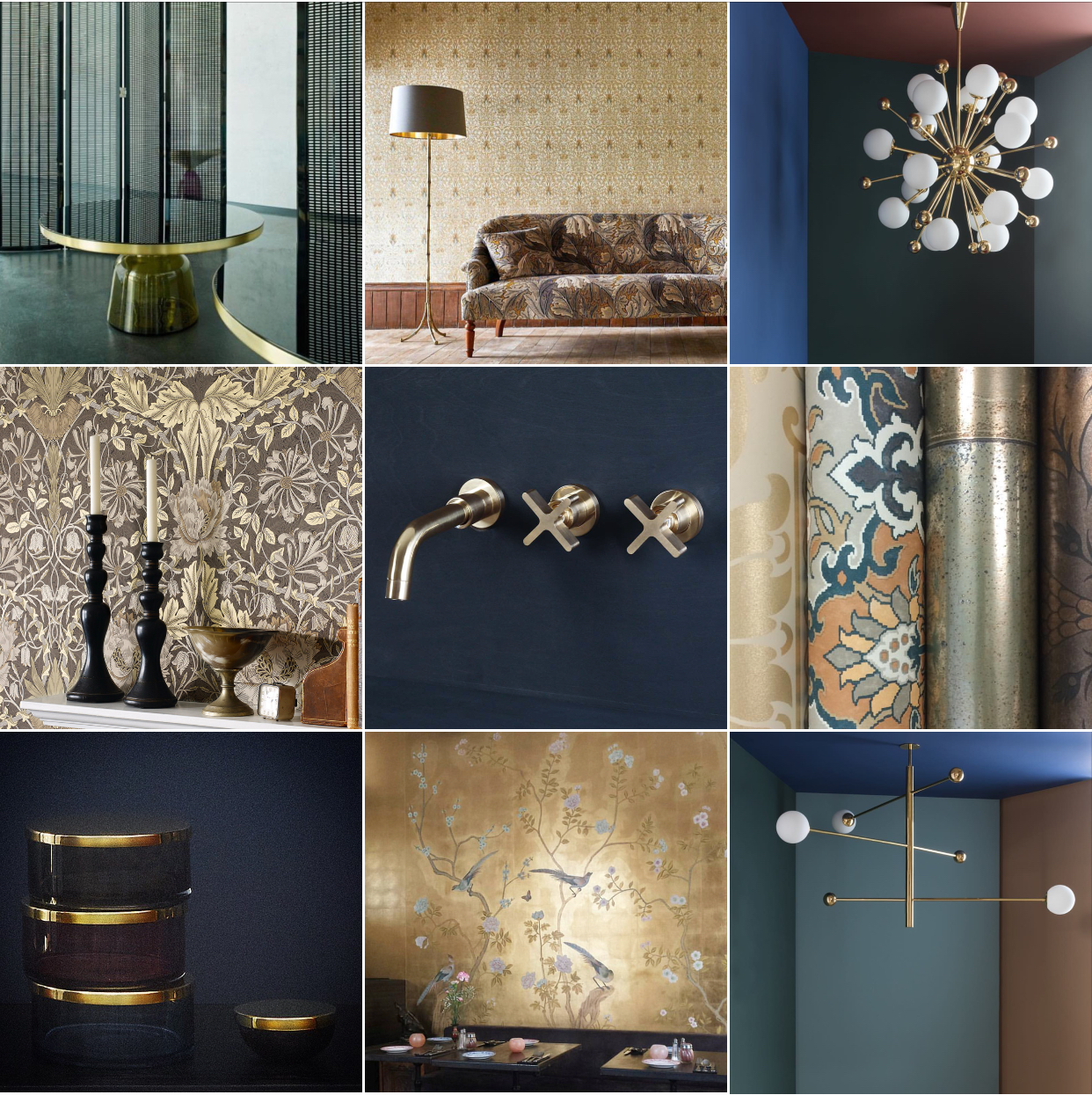 Gold: @michelleogundehin Instagram moodboard featuring lights from Magic Circus Editions, wallpaper from William Morris & Co., Cole & Son and De Gournay; hardware from the Sussex-based Studio Ore, Sebastian Herkner's Bell Tables for Classicon and glass storage jars from Aytm Design.