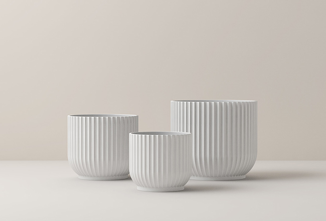 The Lyngby Flower Pots in white porcelain