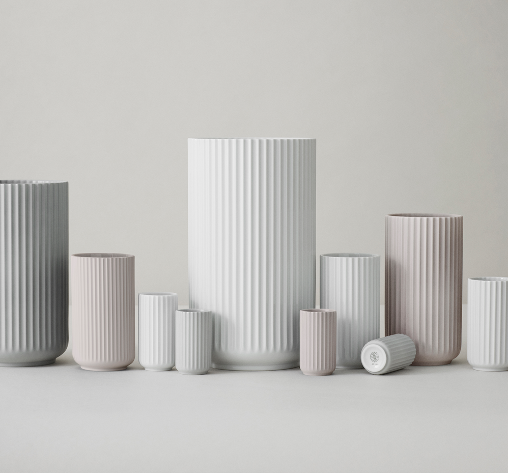 The Lyngby vase family in grey, pale pink and white porcelain