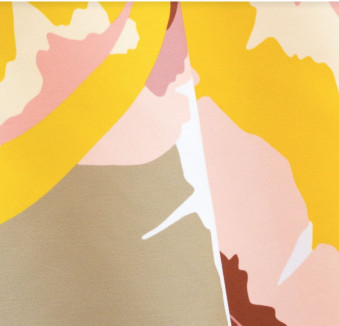 'Palma' fabric by Lelievre. This being the 0752-02 colourway. Hot pops of mustard set against warm taupe, pinks and blue.