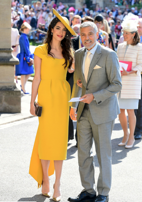 Amal and George Clooney arriving at St George's Chapel, Windsor, for the wedding of Prince Harry and Meghan Markle.