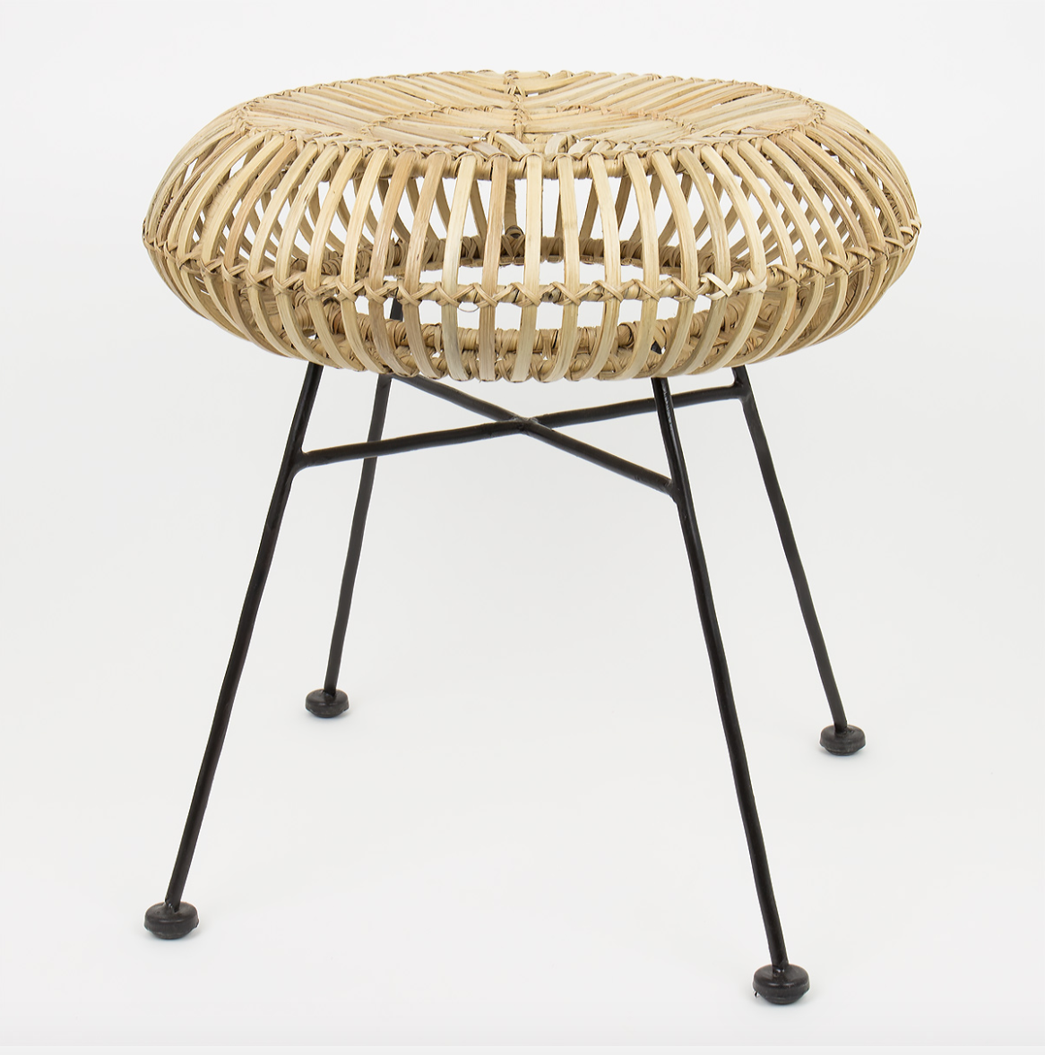 The 'Manila' stool, hand-made in The Philippines, for Afroart. Cane top, iron legs. Approx £75.