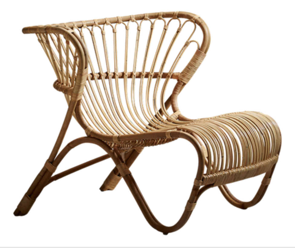 The 'Fox' chair designed by Viggo Boesen in 1936. Hand-made in cane and rattan for Sika Design. Approx £625.