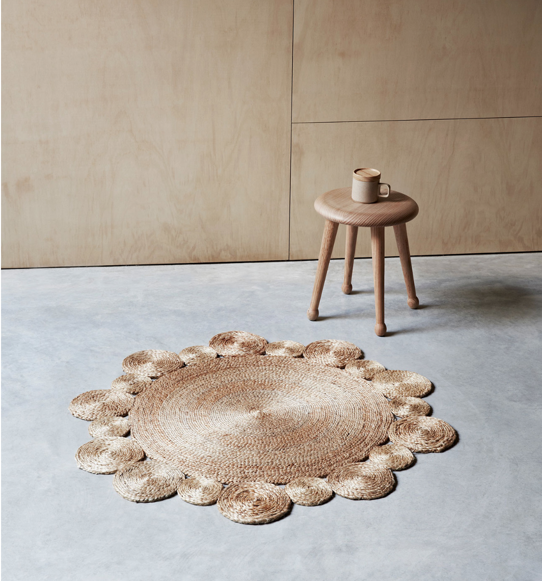The 'Daisy' rug in jute. 98cm diameter. Approx £165. Armadillo & Co.