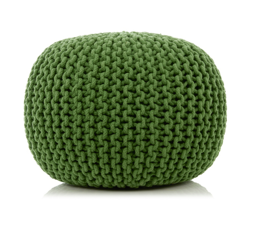 Green 100% cotton knitted ottoman (filling is polystyrene balls) from Asda, £39.