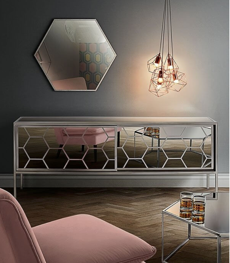 The 'Alveare' brushed chrome mirrored sideboard from My Furniture, £799.99.