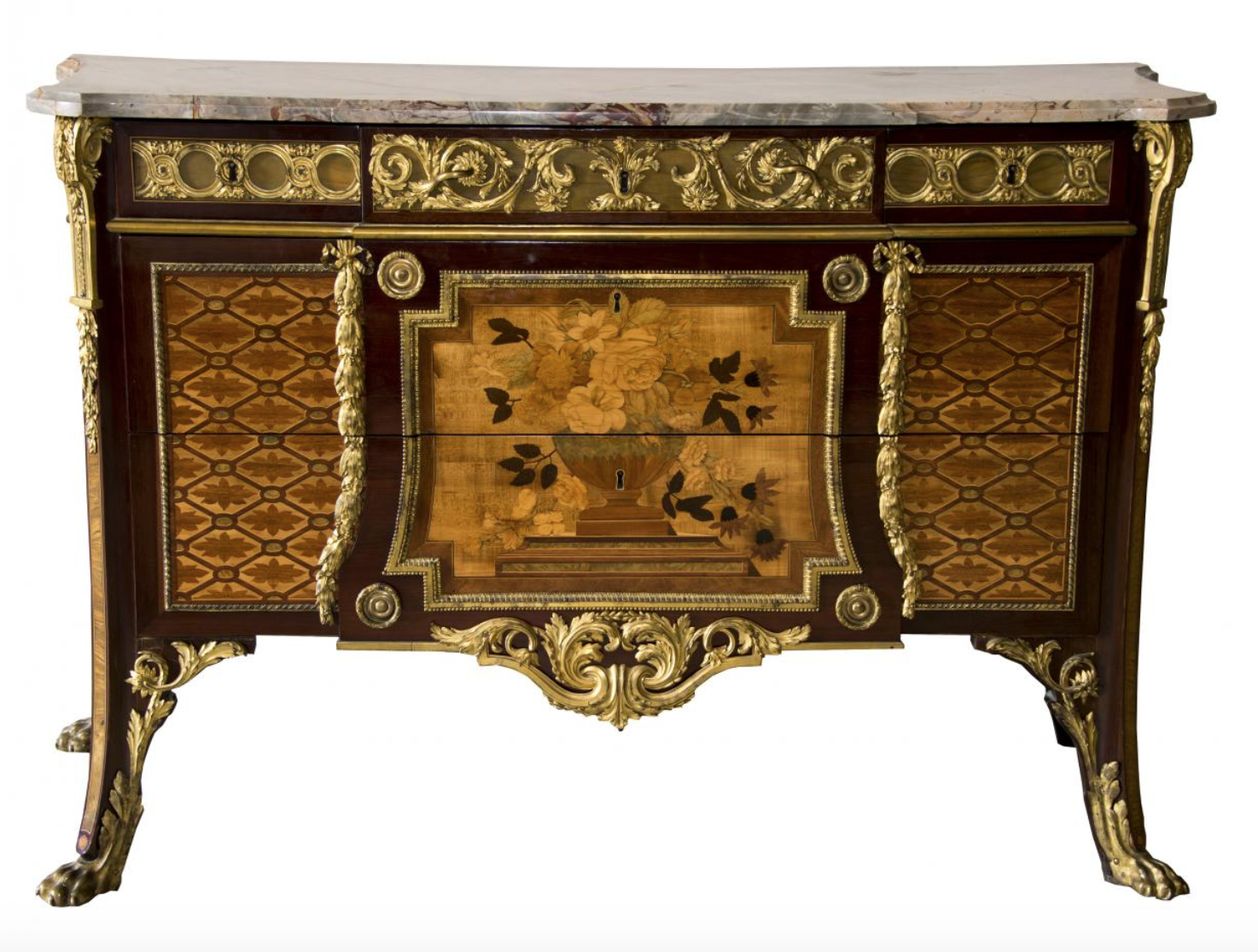 A commode designed by Jean-Henri Reisener (1734 -1806) and made for the Palace of Versailles in 1776.