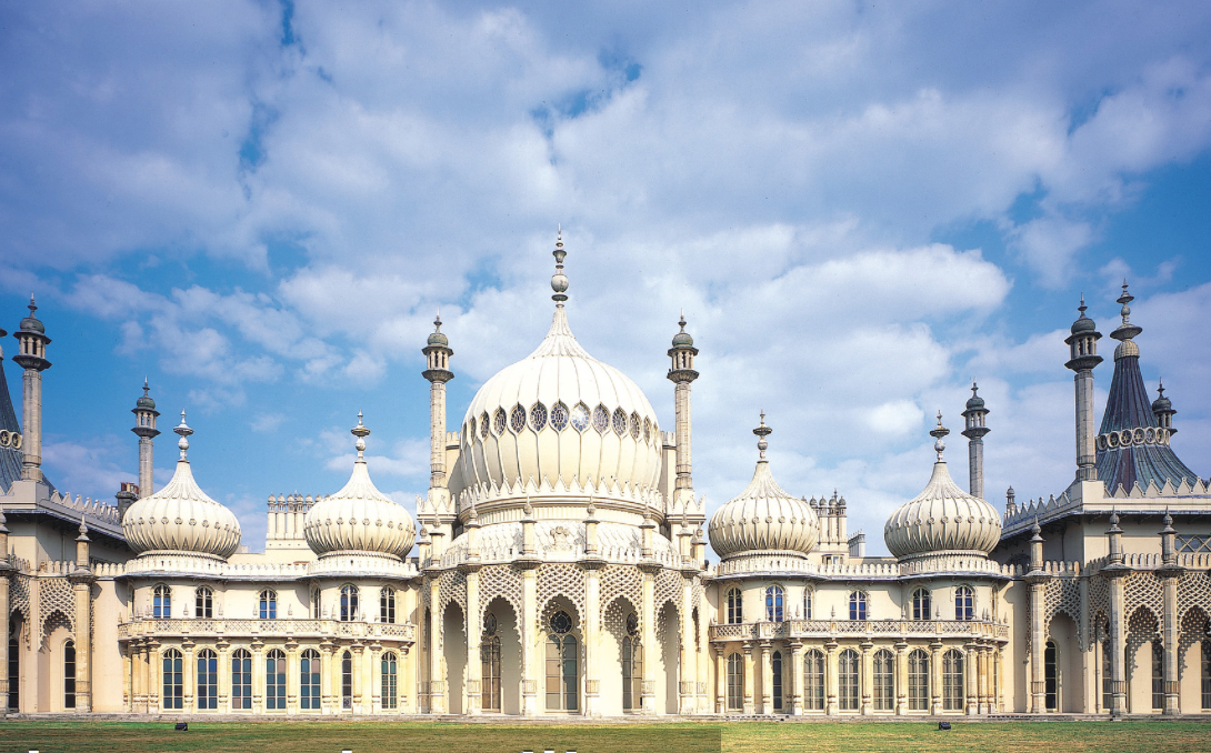 The Royal Brighton Pavillion, built as a seaside pleasure palace for King George IV and extended into the splendid Oriental wonder that we see today by architect John Nash in 1815.