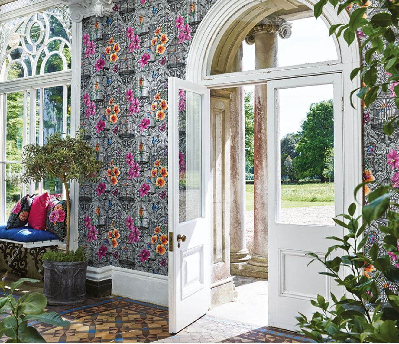 The 'Orangery' wallpaper from the Autumn 2017 'Belvoir' collection by Matthew Williamson for Osborne & Little