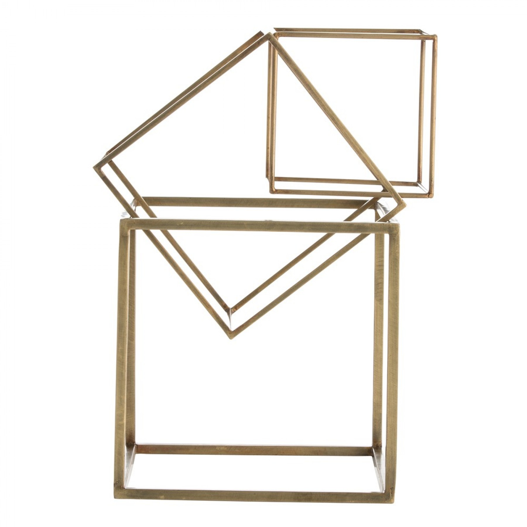 The 'McCoy Sculptures' come as a set of three antique brass cubes that can be re-arranged at will. £149.58 Arteriors Home