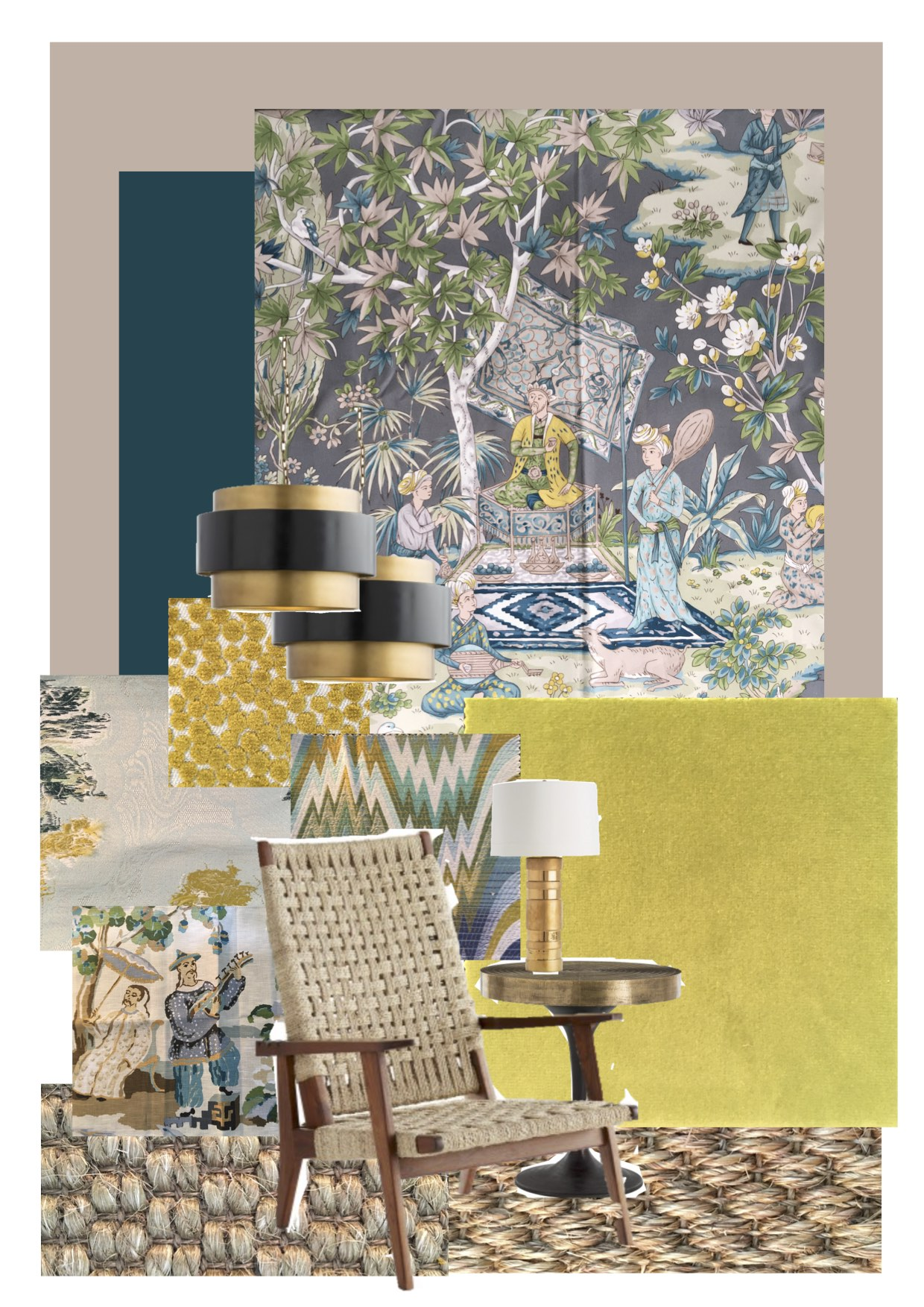 Moodboard of materials and colours: 'Lodi Garden' in grey and 'Xian' in Seafoam from Brunschwig et Fils; 'Acid Palm' in surf by Jonathan Adler for Kravet; 'Polka Dot Plush' in quince also by Kravet; 'Say Goodbye Flora' by Dedar, as is the Cedre coloured velvet. Paints: 'Marine Blue' and 'Light Peach Blossom' both from The Little Greene Paint company.