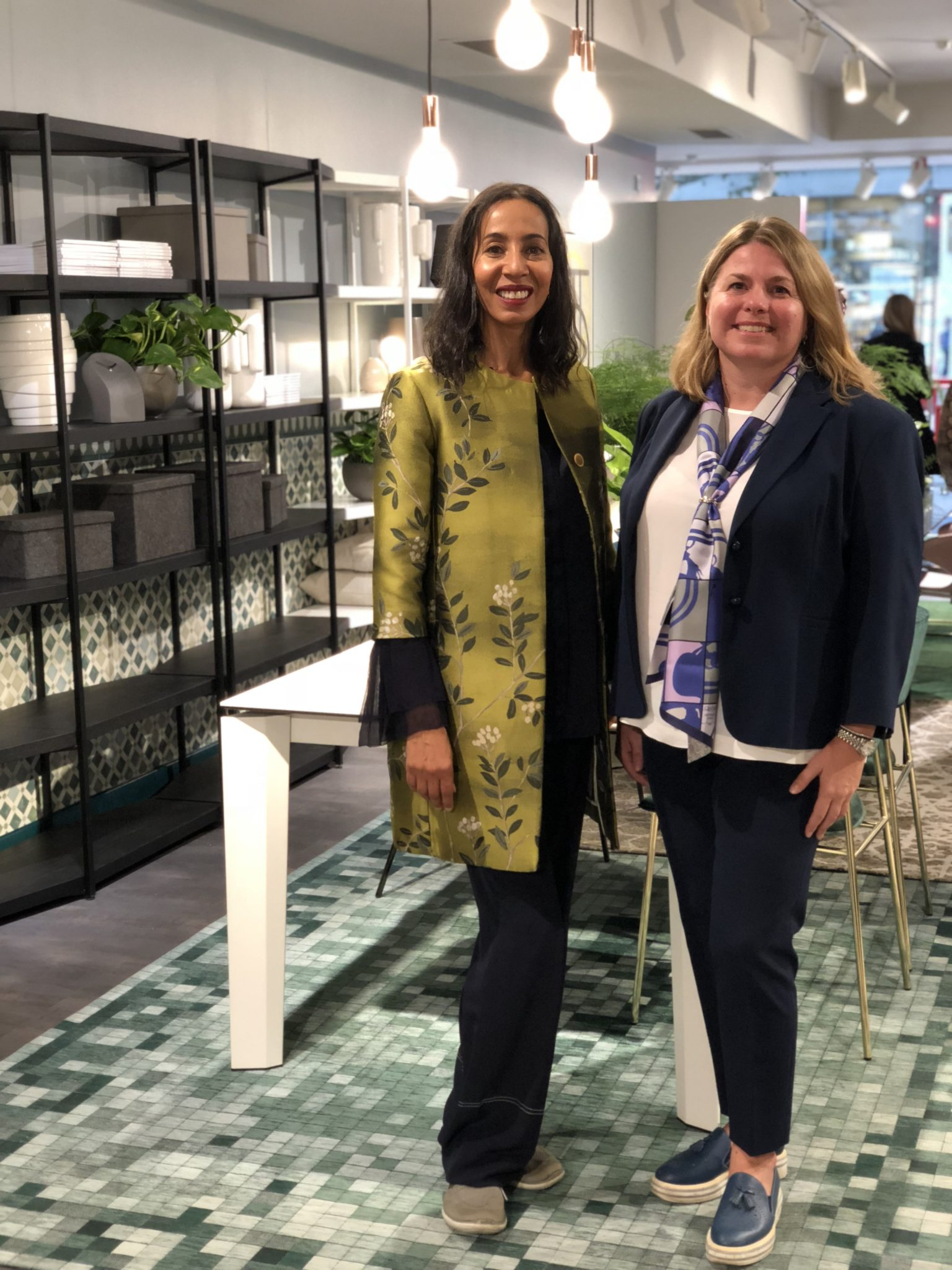 Michelle Ogundehin with Chiara Pessot, General Export Manager for Calligaris
