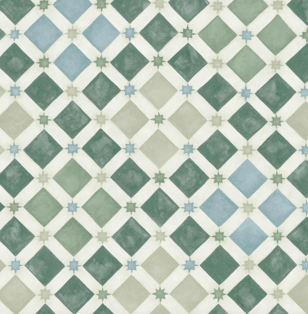 The Cole & Son 'Zellige' tile wallpaper in green from the Martyn Lawrence Bullard collection
