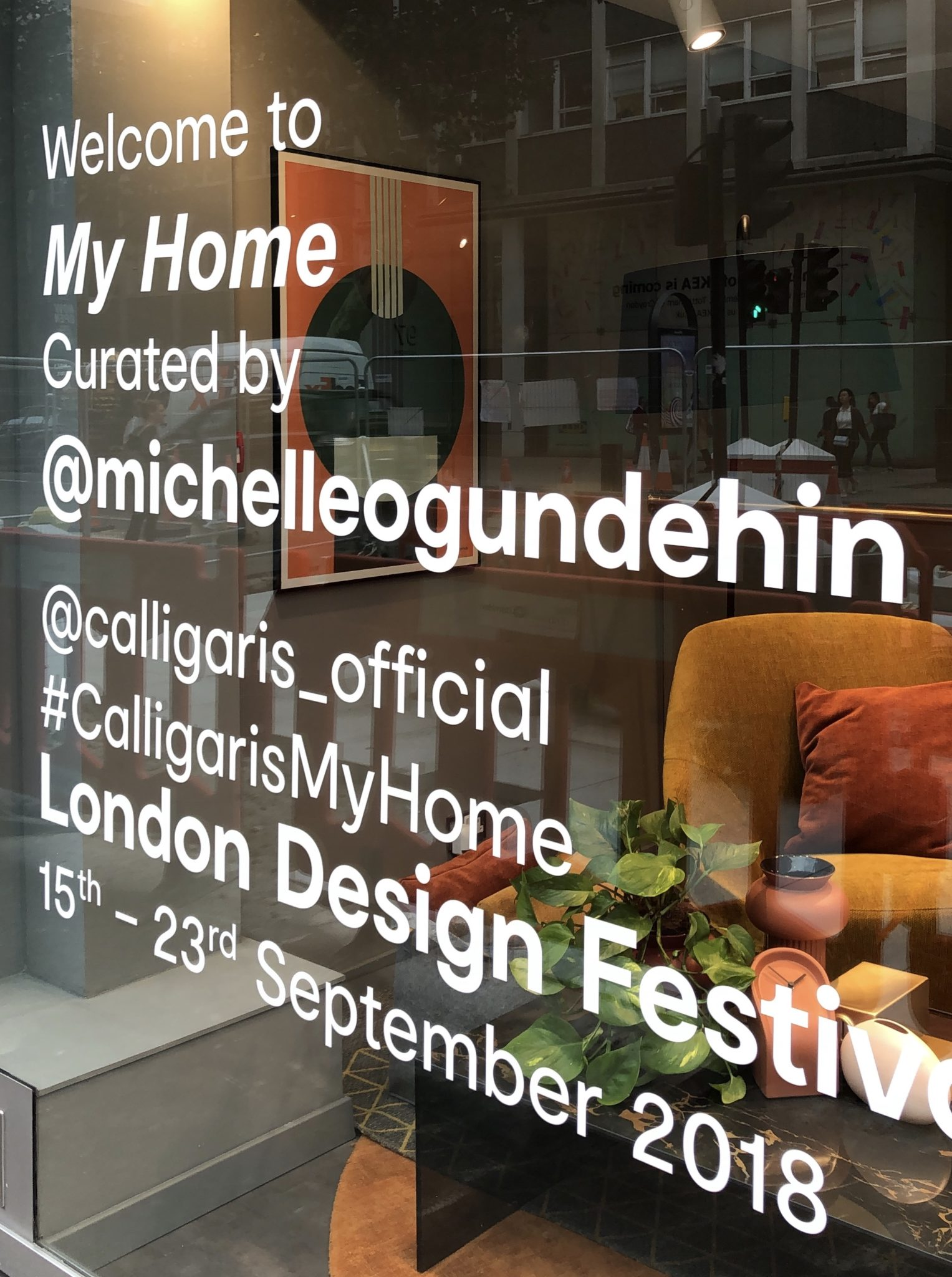 Window decal at the new Calligaris showroom on London's Tottenham Court Road.