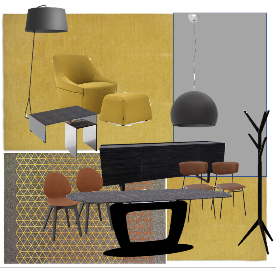 Mock up of my product selection for the windows of the Calligaris showroom