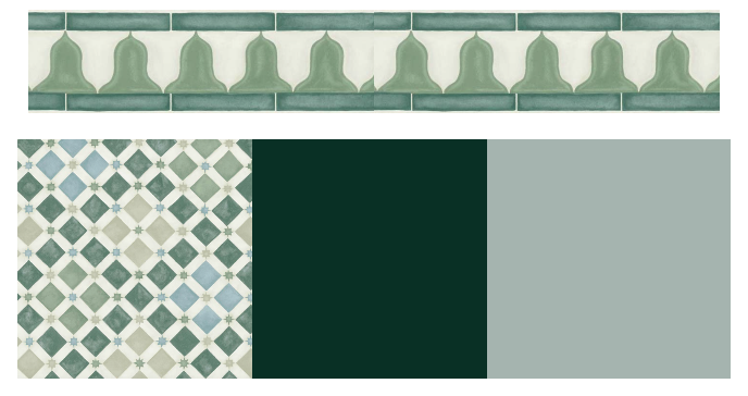 The Cole & Son 'Zellige' tile wallpaper in green with coordinating border trim , both from the Martyn Lawrence Bullard collection. Complementary paint colours: 'Celestial Blue' and 'Mid Azure Green' both from The Little Greene Paint Company