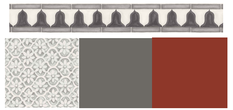 The Cole & Son 'Jali Trellis' stonework wallpaper with coordinating border trim , both from the Martyn Lawrence Bullard collection. Complementary paint colours: 'Dark Lead' and 'Drummond' both from The Little Greene Paint Company