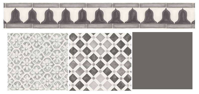 The Cole & Son 'Zellige' tile wallpaper in grey with coordinating border trim, and the 'Jali Tellis' paper in stonework, all from the Martyn Lawrence Bullard collection. Complementary paint colour: ' Dark Lead' used for the skirtings from The Little Greene Paint Company