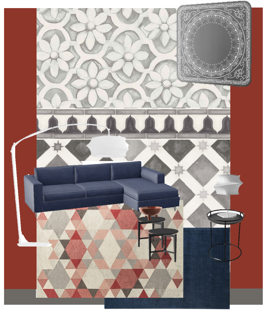 My mock up of product selections for the back wall of the new Calligaris showroom