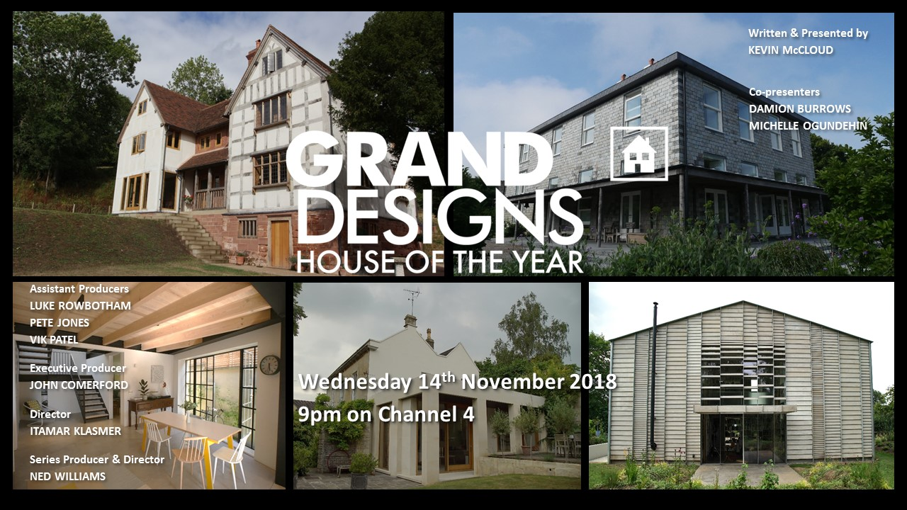 The transmission card for Episode Two of Grand Designs: House of the Year 2018