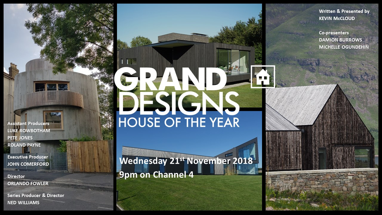 The transmission card for Episode Three of Grand Designs: House of the Year 2018