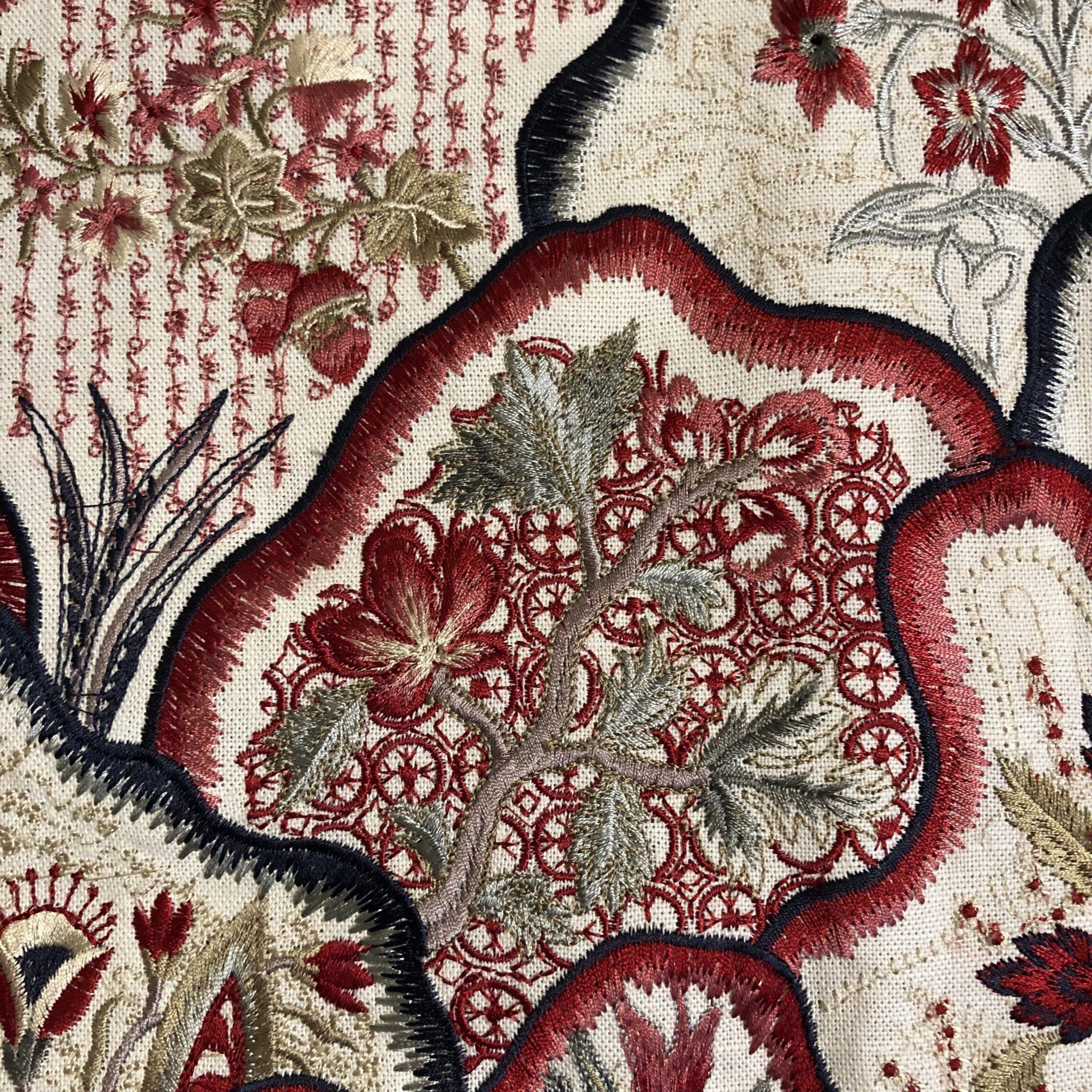 Detail of 'Les Fleurs Bengale' (B7624003 Garan) by Pierre Frey
