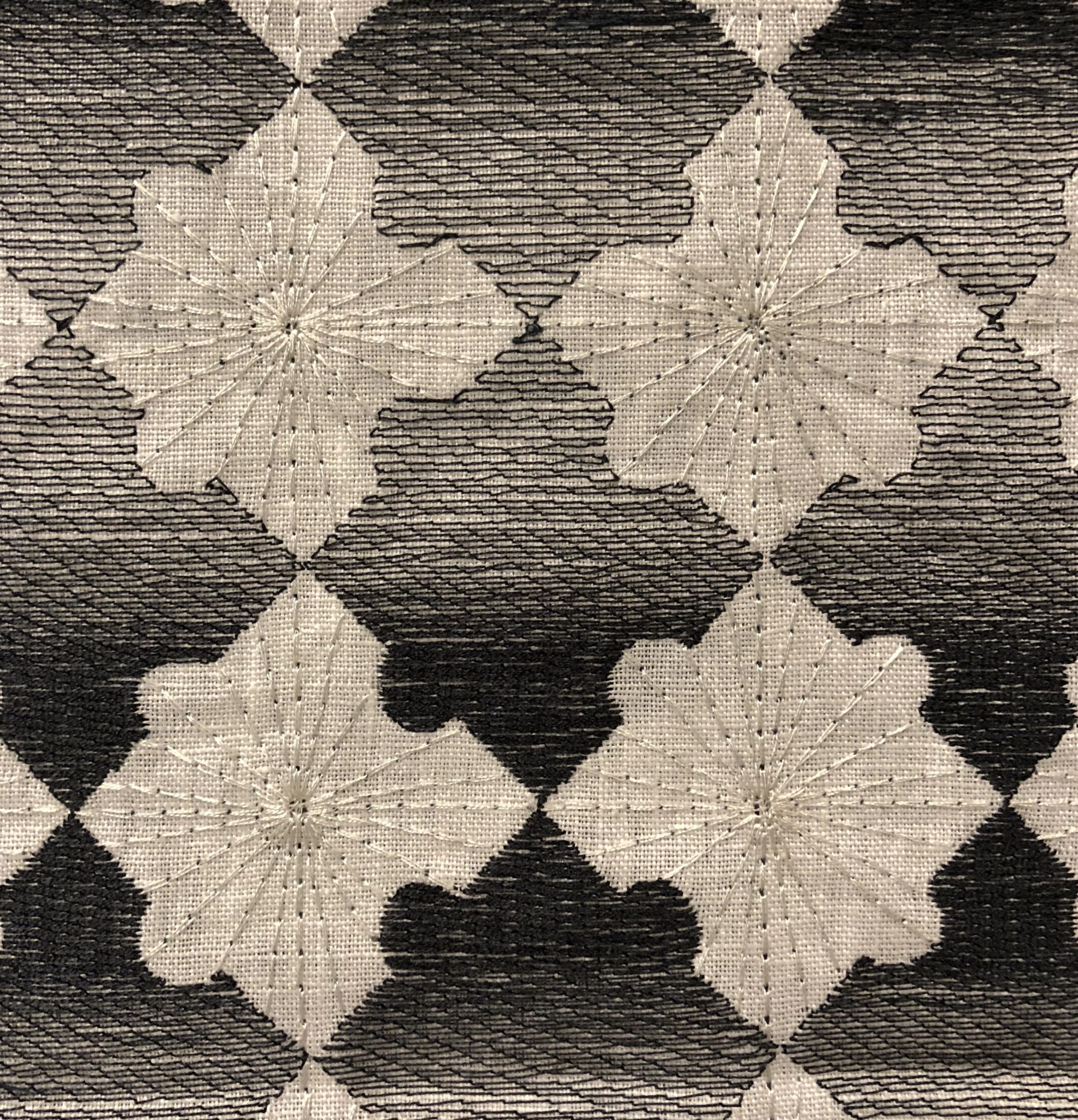 Detail of 'Patchwork Marquetry' (83-251) in 100% linen from the David Collins Studio Collection for Baker