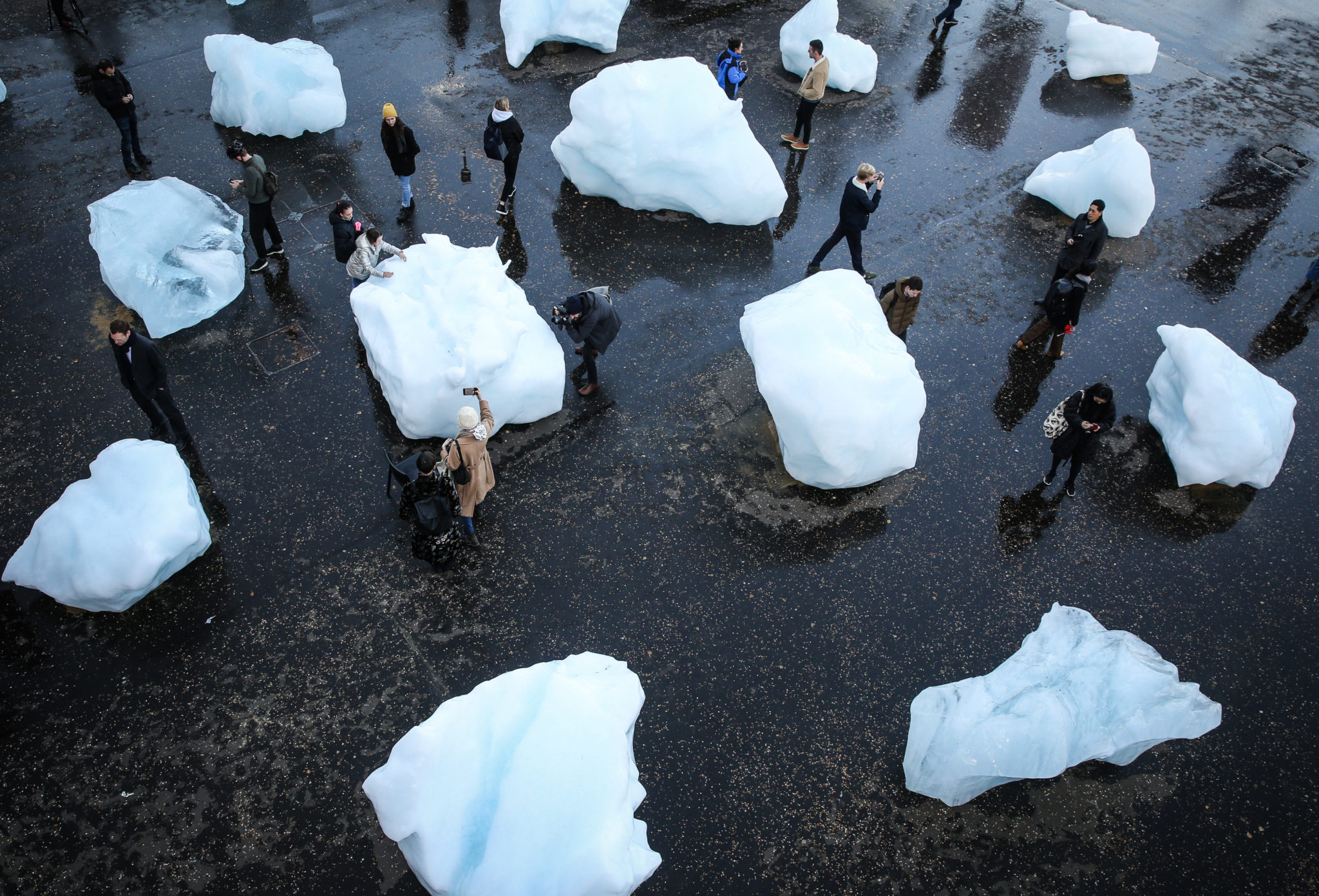 Ice Watch, created by Eliasson from 24 blocks of ice taken from the waters of the Nuup Kangerlua fjord in Greenland, in collaboration with geologist Minik Rosing to inspire public action against climate change, London. Photograph: Matt Alexander/PA Wire