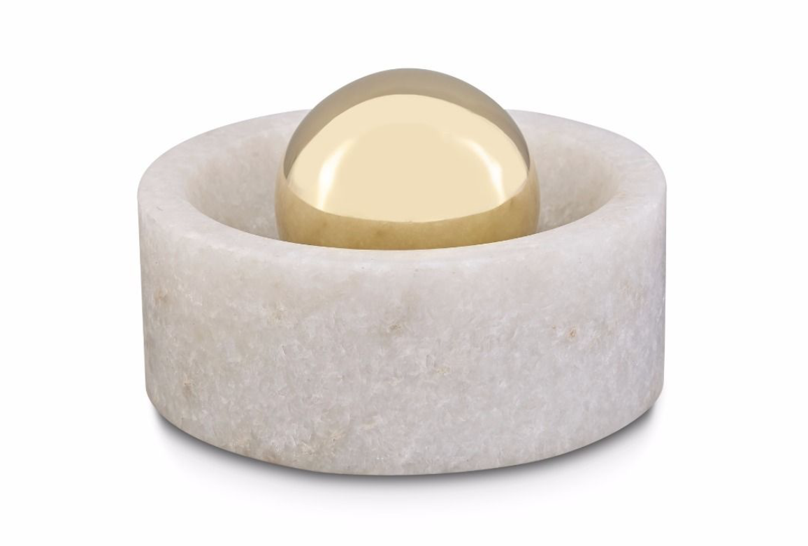 Stone Spice Grinder, in marble and brass, £85, designed by Tom Dixon