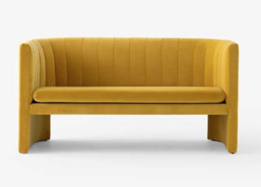 Loafer sofa in mustard yellow by Space Copenhagen for &Tradition. A 2-seater version of the lounge chair they developed for the renovation of Arne Jacobsen's iconic SAS Royal Hotel.