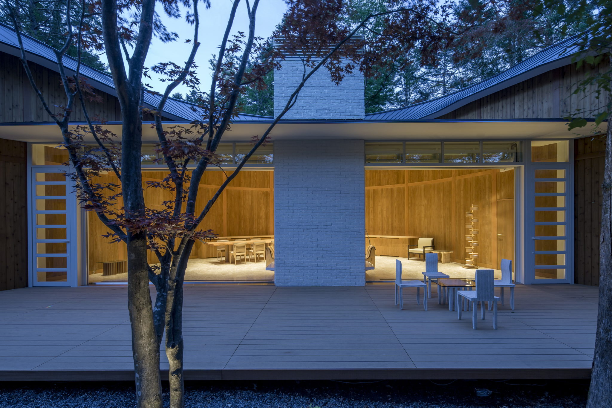 Shishi-Iwa house, designed by Pritzker Prize winning Japanese architect Shigeru Ban, in Karuizawa, Japan.