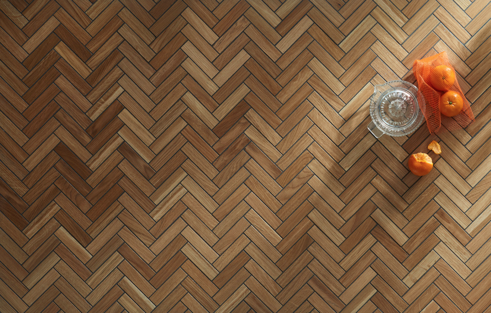 Mosaico, wood tile flooring from Another Brand, made from recycled waste from the furniture industry