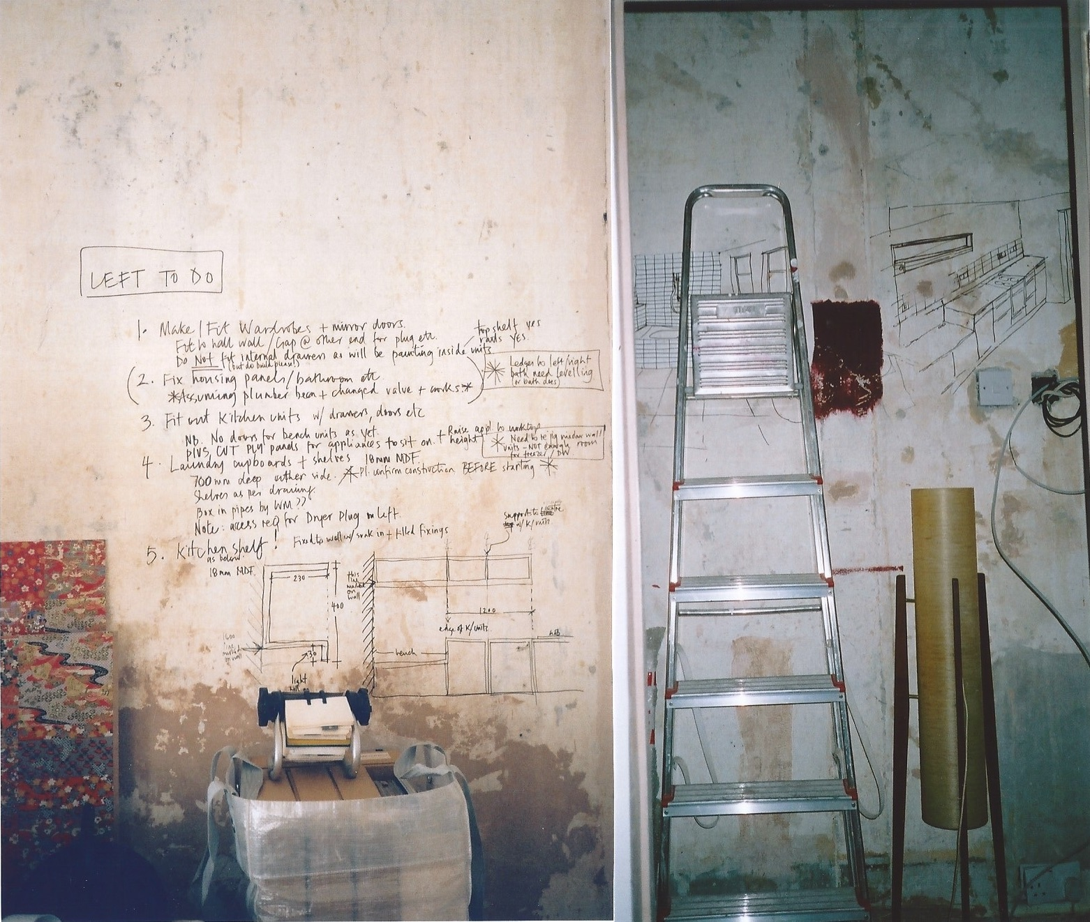 First proper home renovation project. I would draw out what I wanted on the walls, and leave detailed instructions too! Of course, my builders loved me. ;-)