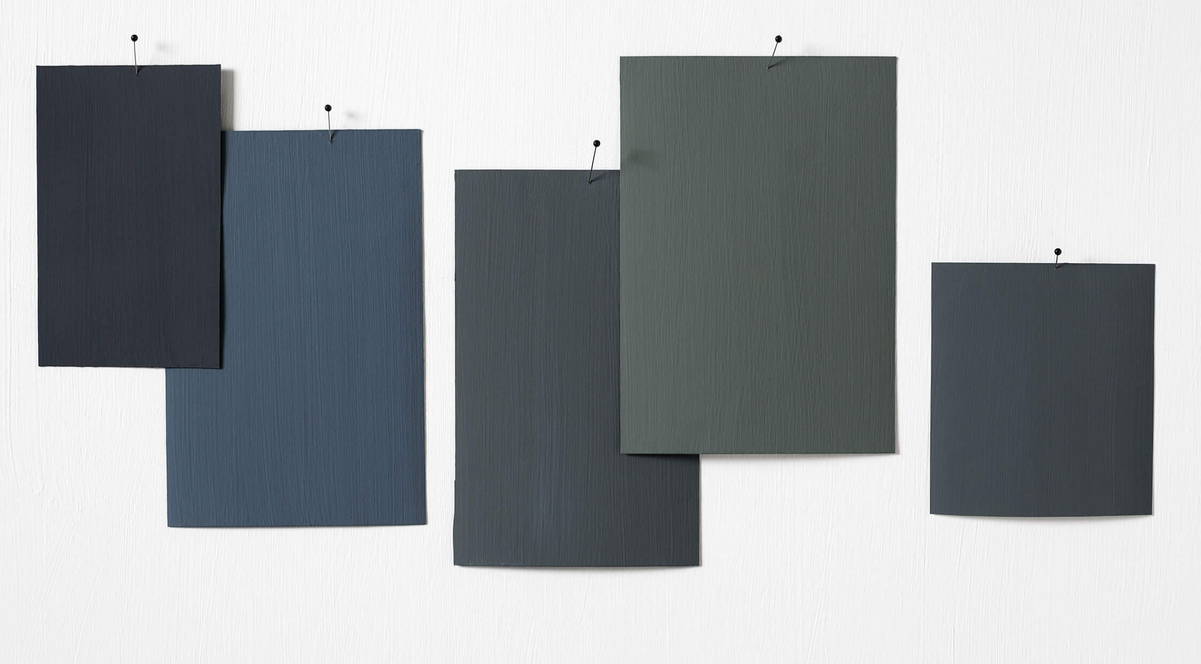 Gris, ultra matt mineral paints: samples from the inky series inspired by Japan