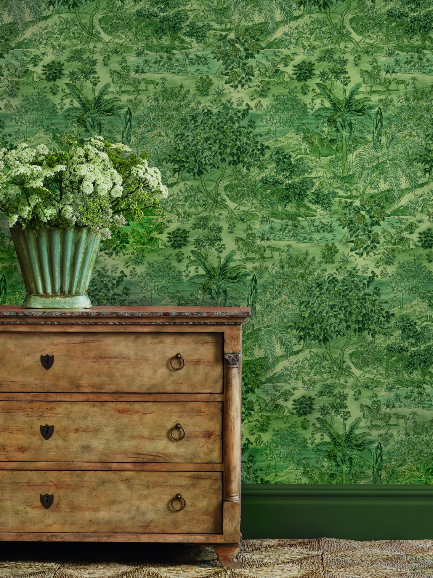 The 'Ramayana Emerald' wallpaper from the 'Signature Wallpapers II' collection from GP & J Baker for Spring 2020.