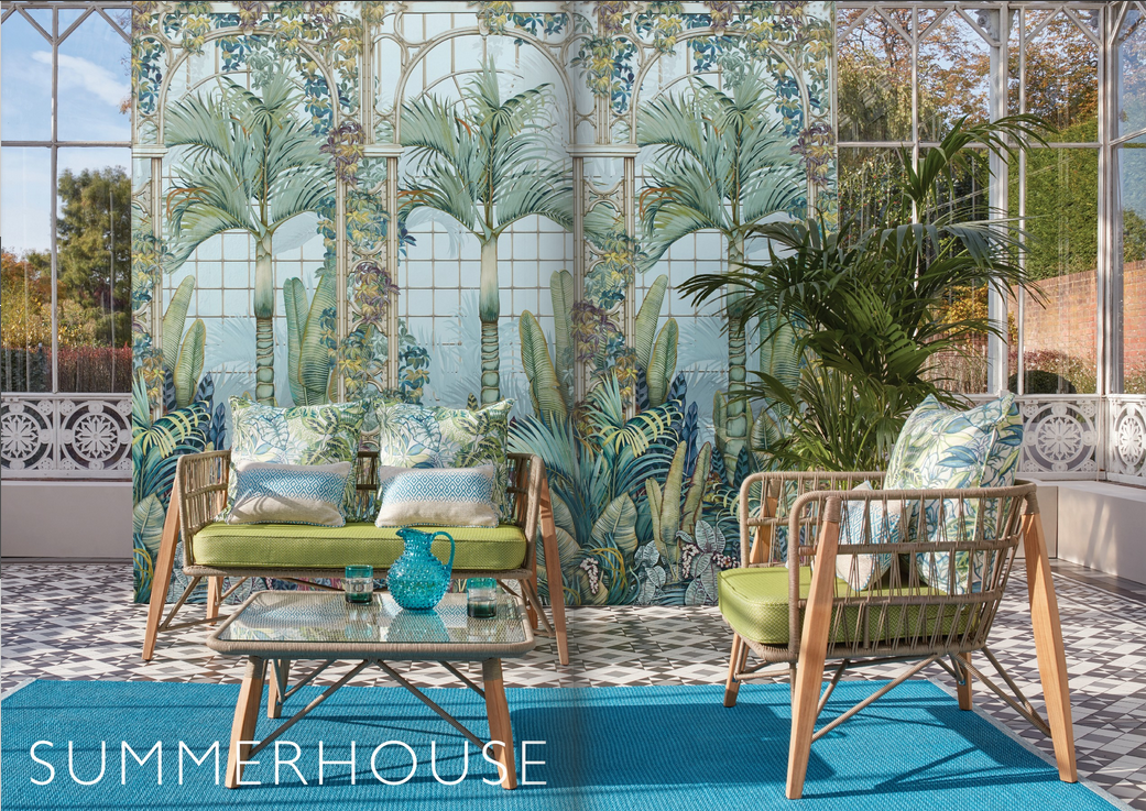 "Pages from the Osborne & Little Spring 2020 catalogue featuring 'Summer House', a print inspired by ""hothouse and indoor plants""."