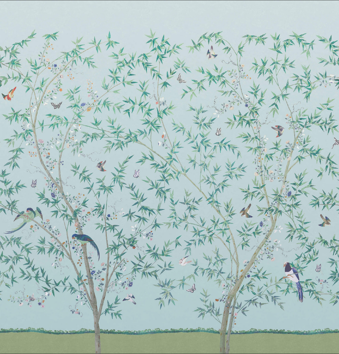 'Belton Scenic' from the Little Greene National Trust papers collection, new for Spring 2020. Based on an original garden party scene paper in the Chinese bedroom at Belton House in Lincolnshire.