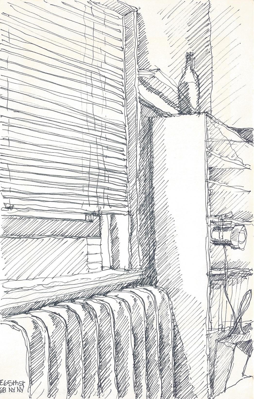 Sketch of a corner of my New York walk-up.
