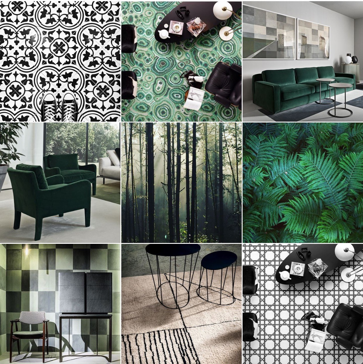 An archive Instagram moodboard when green was just emerging as a superpower, underpinned by Monochrome. The past and future together as one.